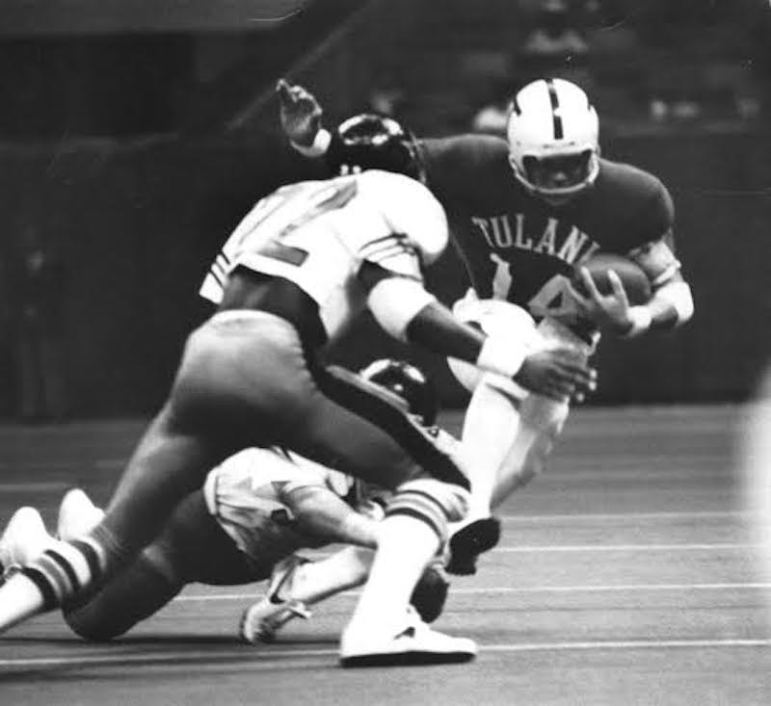 Dr. Jaime R. Garza, number 14 for Tulane University, scored a touchdown pass against Vanderbilt at the Superdome in 1975. Photo courtesy of Dr. Jaime R. Garza.