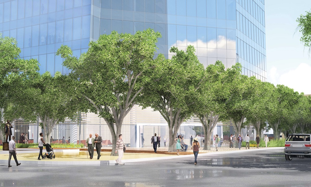 The proposed main entrance to the New Frost Tower. Rendering by Pelli Clarke Pelli, courtesy of Weston Urban.