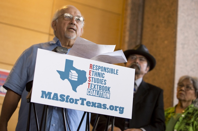 Dr. Emilio Zamora, a history professor at UT Austin, discusses factual errors in a proposed Mexican-American studies textbook during a press conference on July 18, 2016. Photo by Marjorie Kamys Cotera for The Texas Tribune.