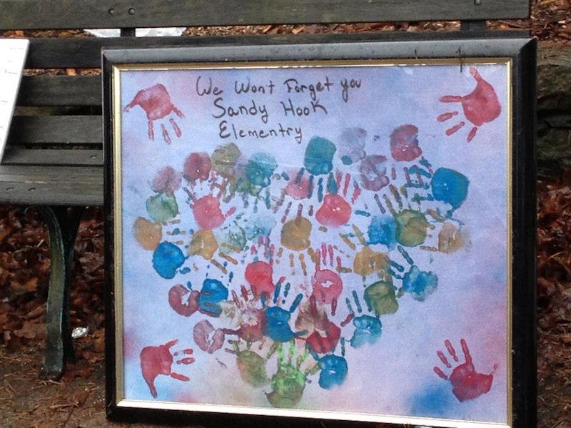 Pieces of art at the downtown square in Newtown, Conn. serve as a tribute to the 20 children and six adults killed at Sandy Hook Elementary School. Photo by Laura Beth Wallace.