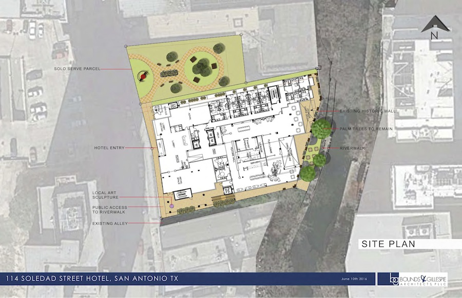 Site plan of temporary pocket park and hotel that would replace the Solo Serve building at 114 Soledad. Rendering courtesy of Bounds + Gillespie Architects.