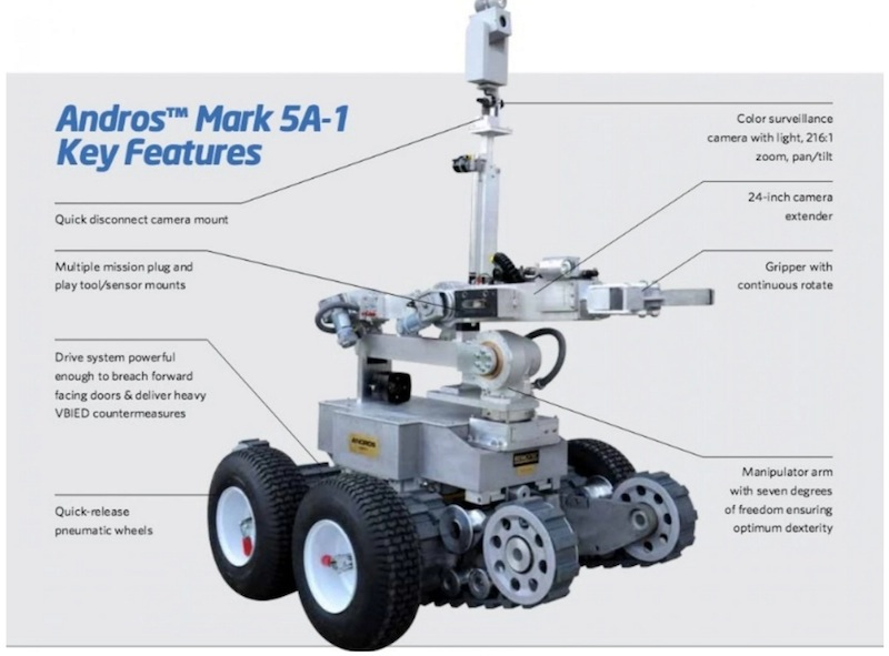 Initial reports identified the Remotec model F-5 as the robot that police used to kill a sniper in Dallas. It was later revealed that it was the Remotec Andros Mark V-A1, manufactured by Northrop Grumman. Image courtesy of Northrop Grumman.