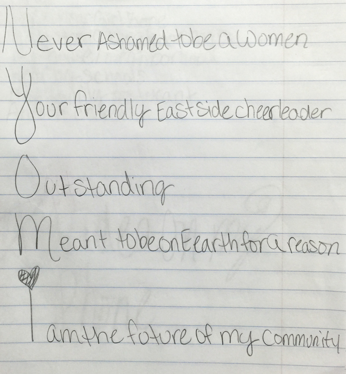An acrostic poem written by Nyomi, 11. Photo courtesy of Ernesto Olivo.