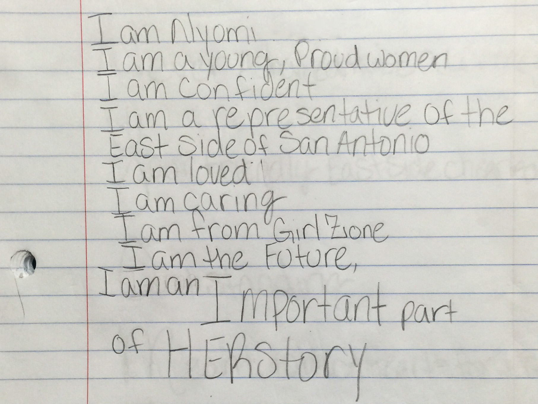 A poem titled 'I am' by Nyomi, 11. Photo courtesy of Ernesto Olivo.