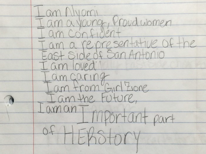 A poem titled 'I am' by Nyomi, 11. Photo by Scott Ball.