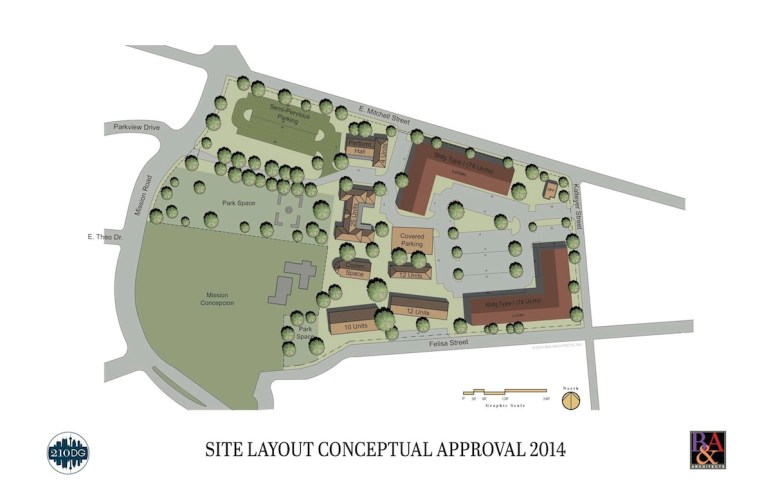 One of the preliminary site plans for the apartments at Mission Concepción that was approved by HDRC in 2014. Image courtesy of B&A Architects.