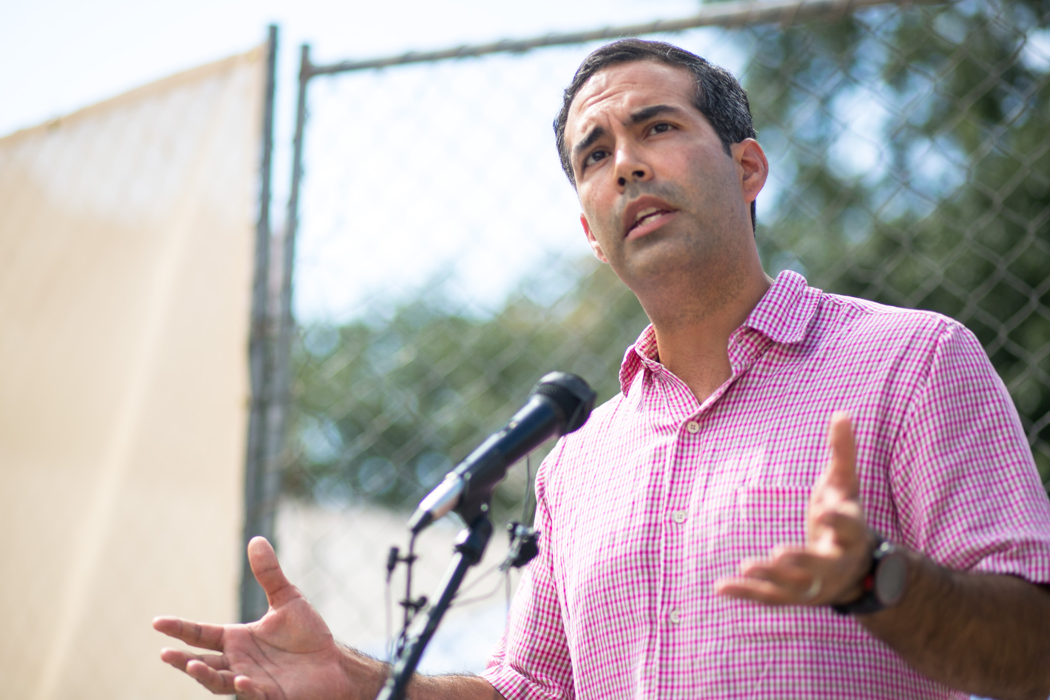 Texas Land Commissioner George P. Bush speaks about the continued development at Alamo Plaza. Photo by Kathryn Boyd-Batstone.