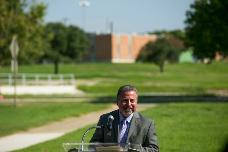 Brooks President & CEO Leo Gomez speaks about the many festivals, concerts, and family events that will eventually occur at the Greenline. Photo by Kathryn Boyd-Batstone.