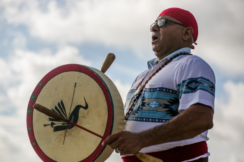 John Hernandez of the Descendants of Mission Indians performs a ceremony at the ground breaking of the new YMCA of Greater San Antonio branch. Photo by Kathryn Boyd-Batstone.