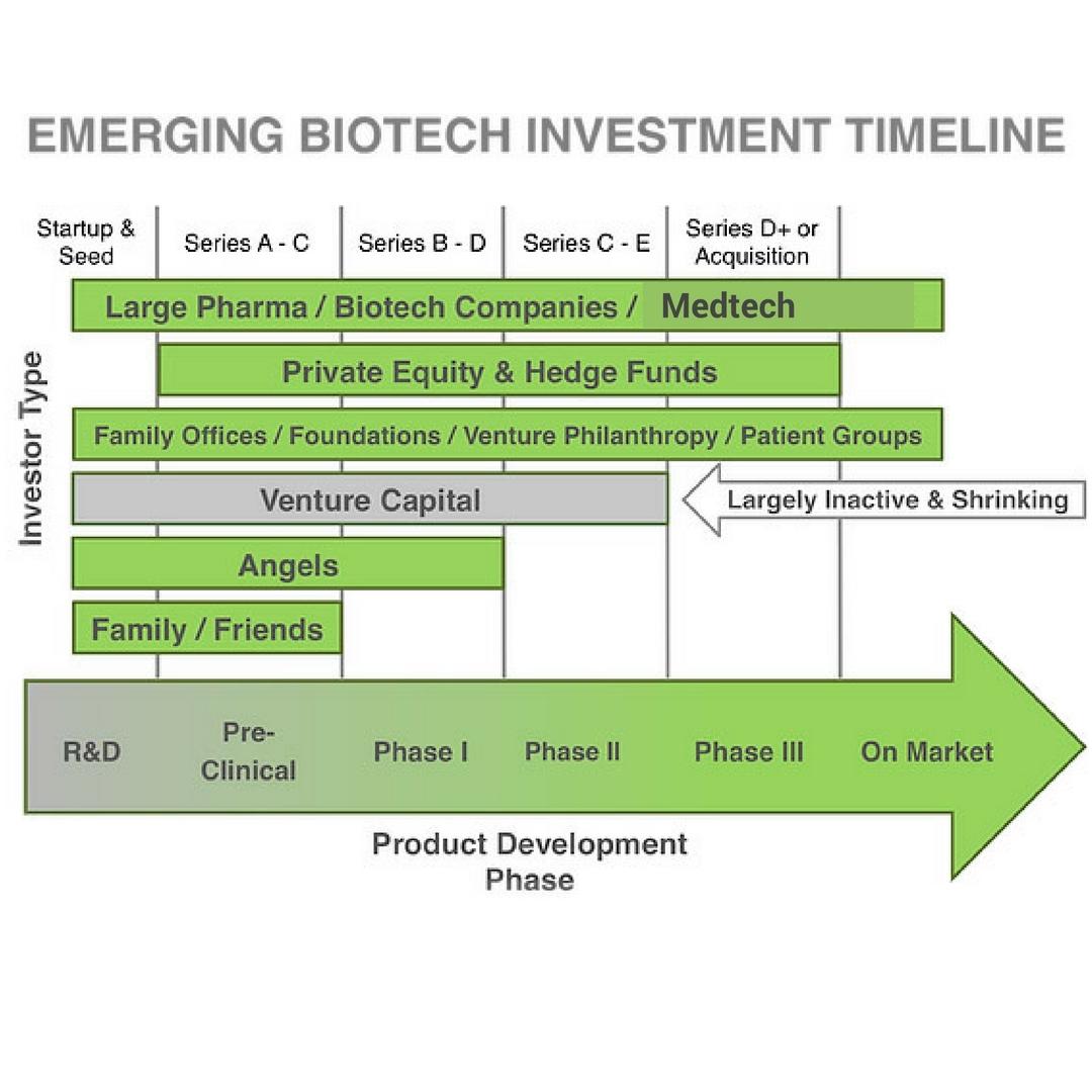 Representative Biotech investment timeline. Amended image (Medtech added) courtesy Soho Loft Media Group.