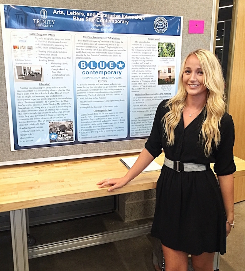 Angela Wilson shares her experience at Blue Star Contemporary at the Trinity University's Summer Undergraduate Research Conference. Photo courtesy of Angela Wilson.