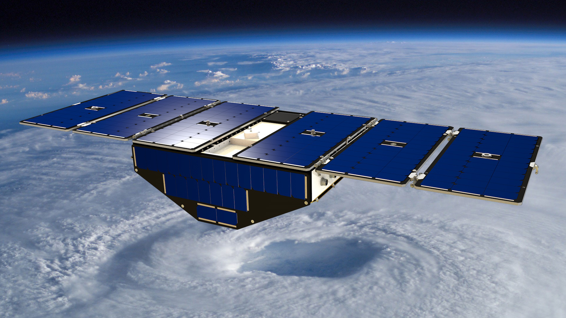 NASA's CYGNSS mini-satellites will collect wind speed data directly over the eye of cyclones. Photo courtesy of NASA.
