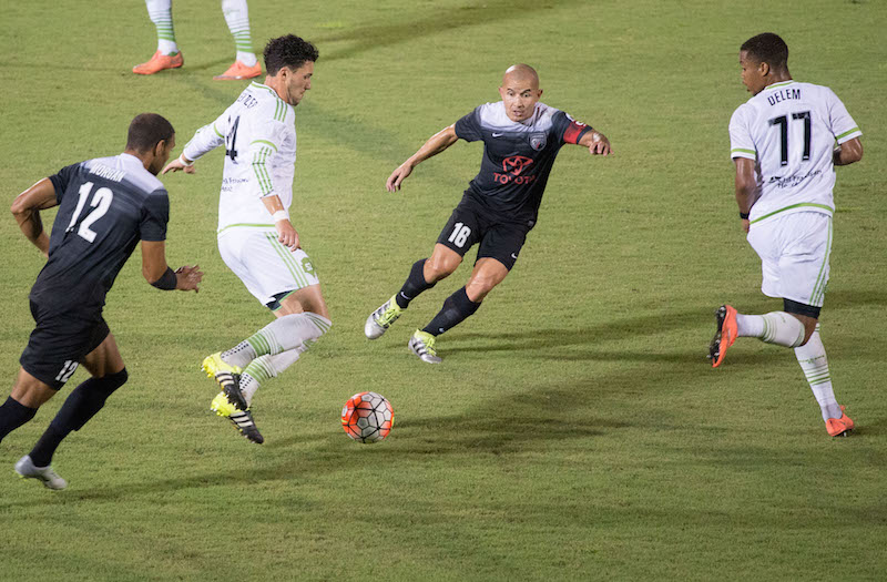 Midfielder Rafael Castillo chases the ball against Seattle Sounders 2. Photo by Darren Abate for USL.