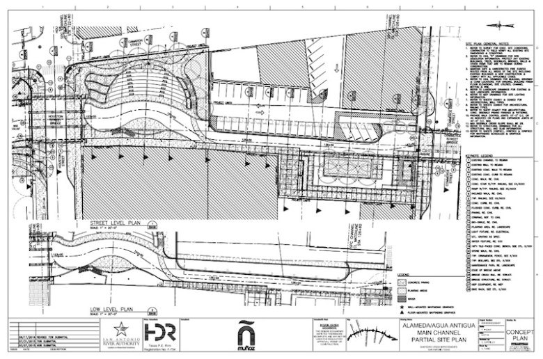 The site plan for the plaza and paseo that will replace the old Dollar General building along San Pedro Creek.  Image courtesy of Muñoz & Company.