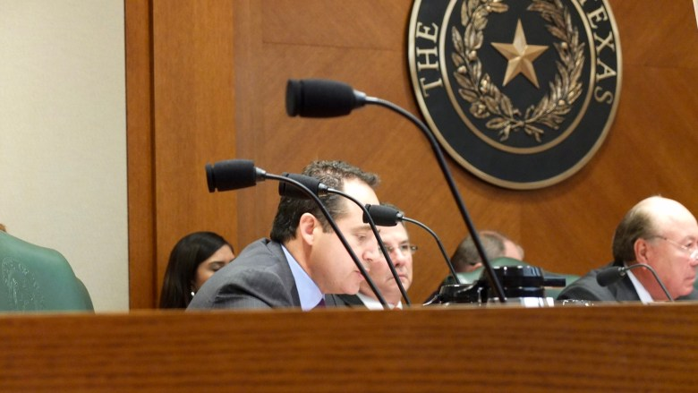 State Sen. José Menéndez (D-26) offers opening remarks before the cyberbullying testimonies begin.  Photo by Abbey Francis.