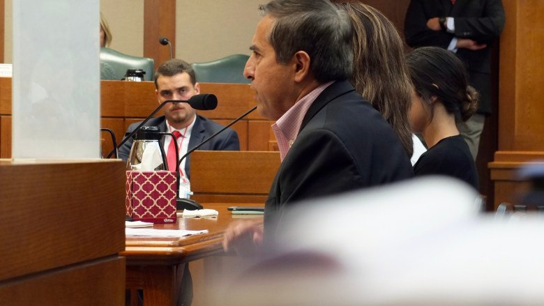 Leo Vasquez offers a testimony on cyberbullying to the Senate Criminal Justice Committee on Tuesday, Aug. 23.  Photo by Abbey Francis.