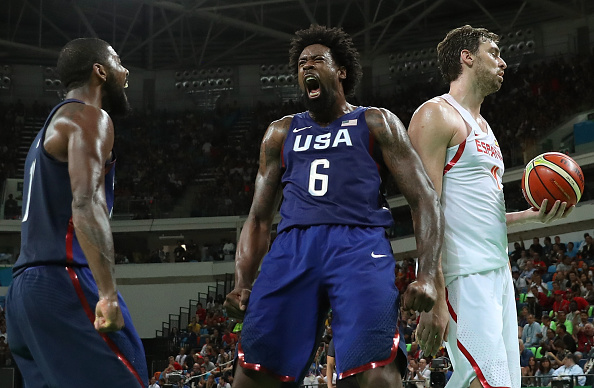 DeAndre Jordan #6 and Kyrie Irving #10 of United States celebrate a Jordan dunk as Pau Gasol #4 of Spain looks on during the Men's Semifinal match on Day 14 of the Rio 2016 Olympic Games at Carioca Arena 1 on August 19, 2016 in Rio de Janeiro, Brazil. Photo by Christian Petersen/Getty Images.