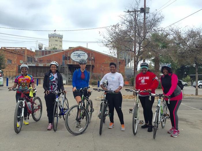 Black Girls Do Bike participants kick off their ride Blue Star Arts Complex. Photo courtesy of Tamisha Johnson.