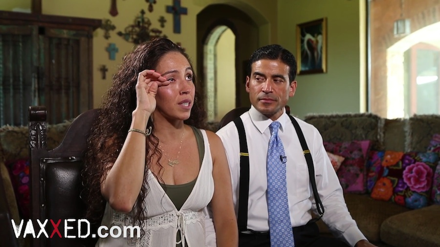 A screenshot of an interview with Davida (left) and Bexar County District Attorney Nico LaHood via the Vaxxed documentary series.