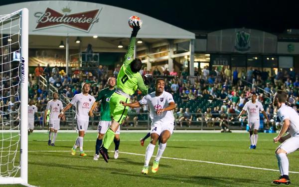 San Antonio FC Goalkeeper Matt Cardone makes a save against Saint Louis FC. Photo courtesy of Saint Louis FC/USL.