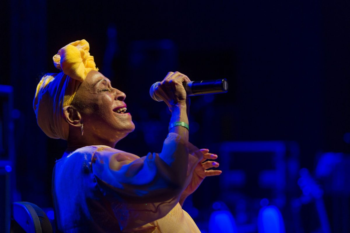 Omara Portuondo sings while on tour with Eliades Ochoa. Photo courtesy of Buena Vista Social Club.
