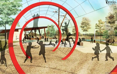 A playground is planned for The Greenline park at Brooks City Base. Rendering courtesy of Brooks City Base.