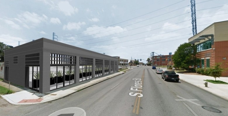The facade of the building at 1302 S. Flores St. (left) will be retained, but will be hollowed out to provide more on-site parking. Image courtesy of AREA Real Estate.