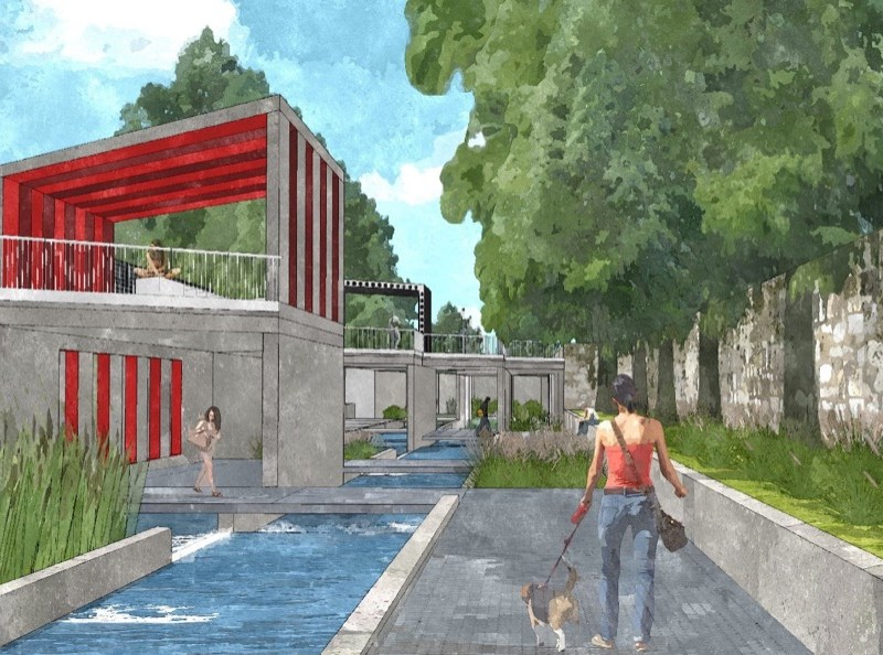 Portion of San Pedro Creek downstream of Cesar Chavez Boulevard. Rendering courtesy of Muñoz & Co.