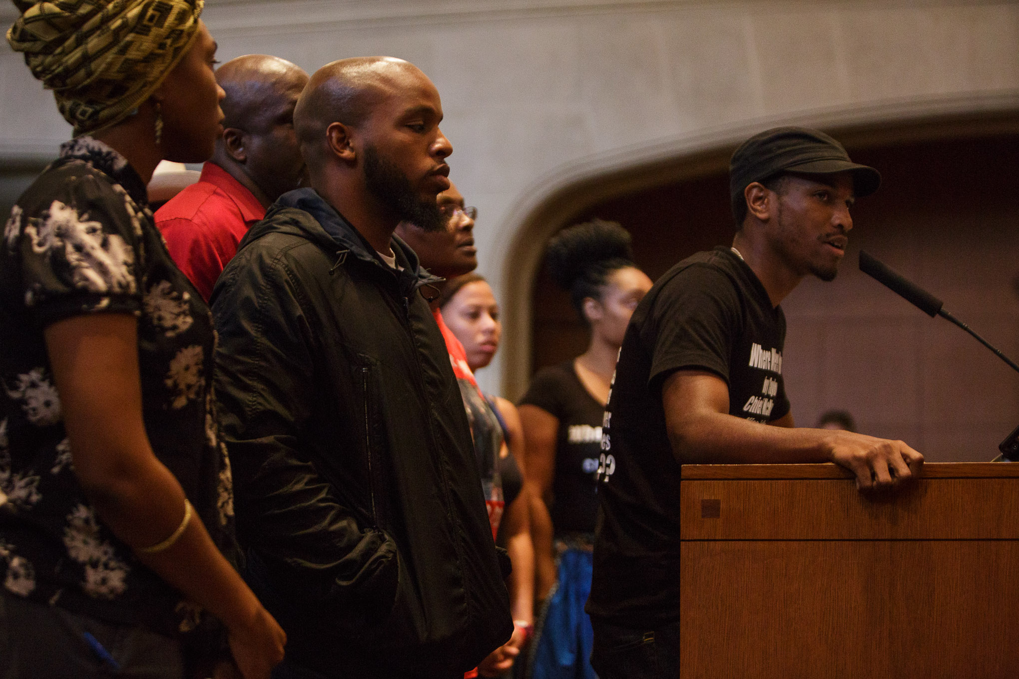 Black Lives Matter organizer and activist Johnathan-David Jones speaks to the Mayor and San Antonio City Council regarding the Police Union contract. Photo by Scott Ball.
