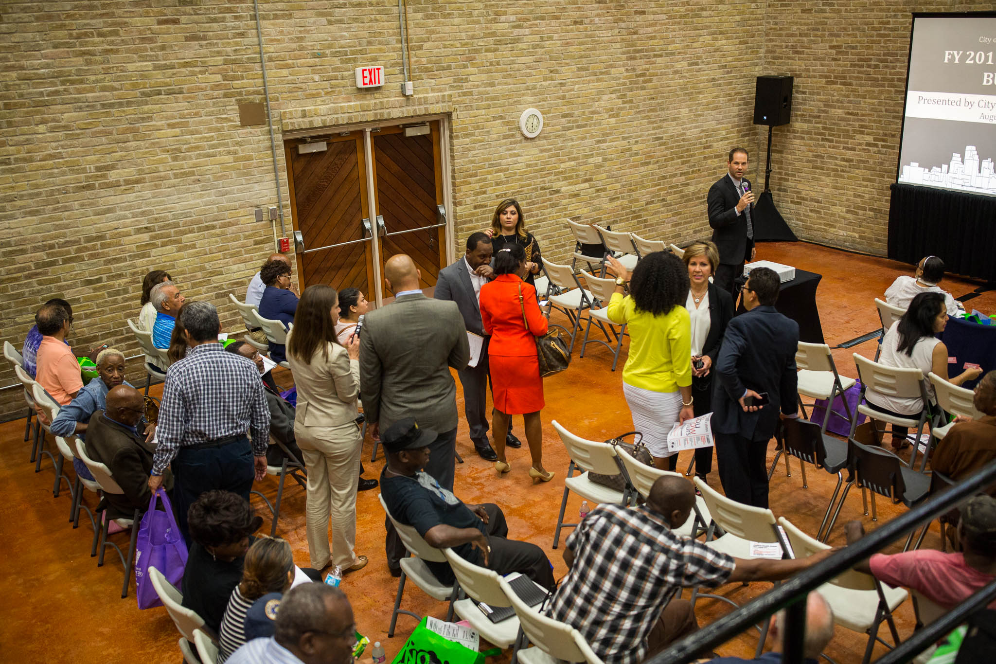 Citizens and public officials gather at the Claude Black Community Center to hear the proposed 2017 city budget. Photo by Scott Ball.