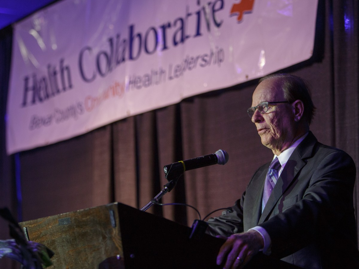 Judge Nelson Wolff gives opening remarks at the 2016 Community Health Needs Assessment. Photo by Scott Ball.