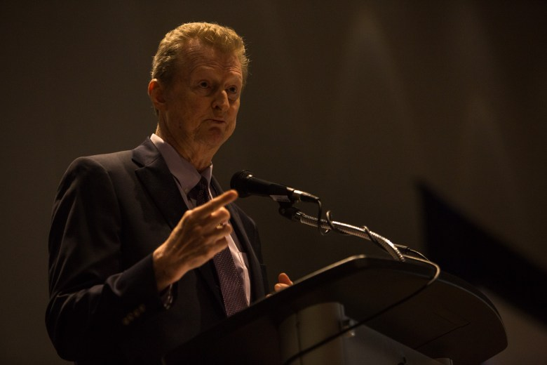 Co-Founder, Chairman, and CEO of Secure Logix Corporation Lee Sutterfield gives his acceptance speech. Photo by Scott Ball.
