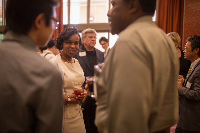 Mayor Ivy Taylor socializes with attendees of the Kumamoto Relief Fundraiser. Photo by Scott Ball.
