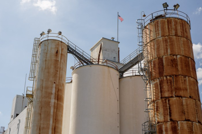 Large silos make up much of the central buildings in the Lone Star complex. Photo by Scott Ball.