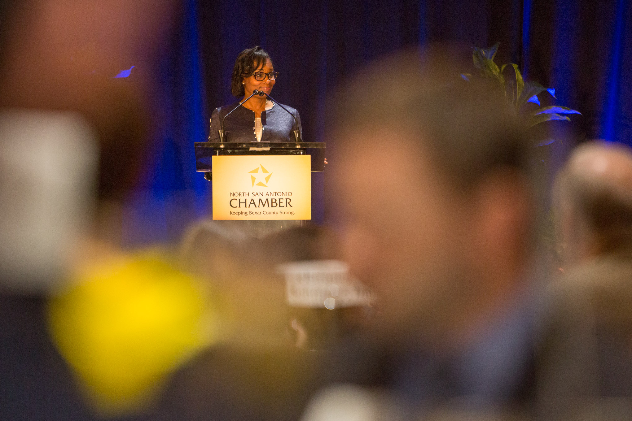 Mayor Ivy Taylor gives the keynote address during the event hosted by the San Antonio North Chamber. Photo by Scott Ball.