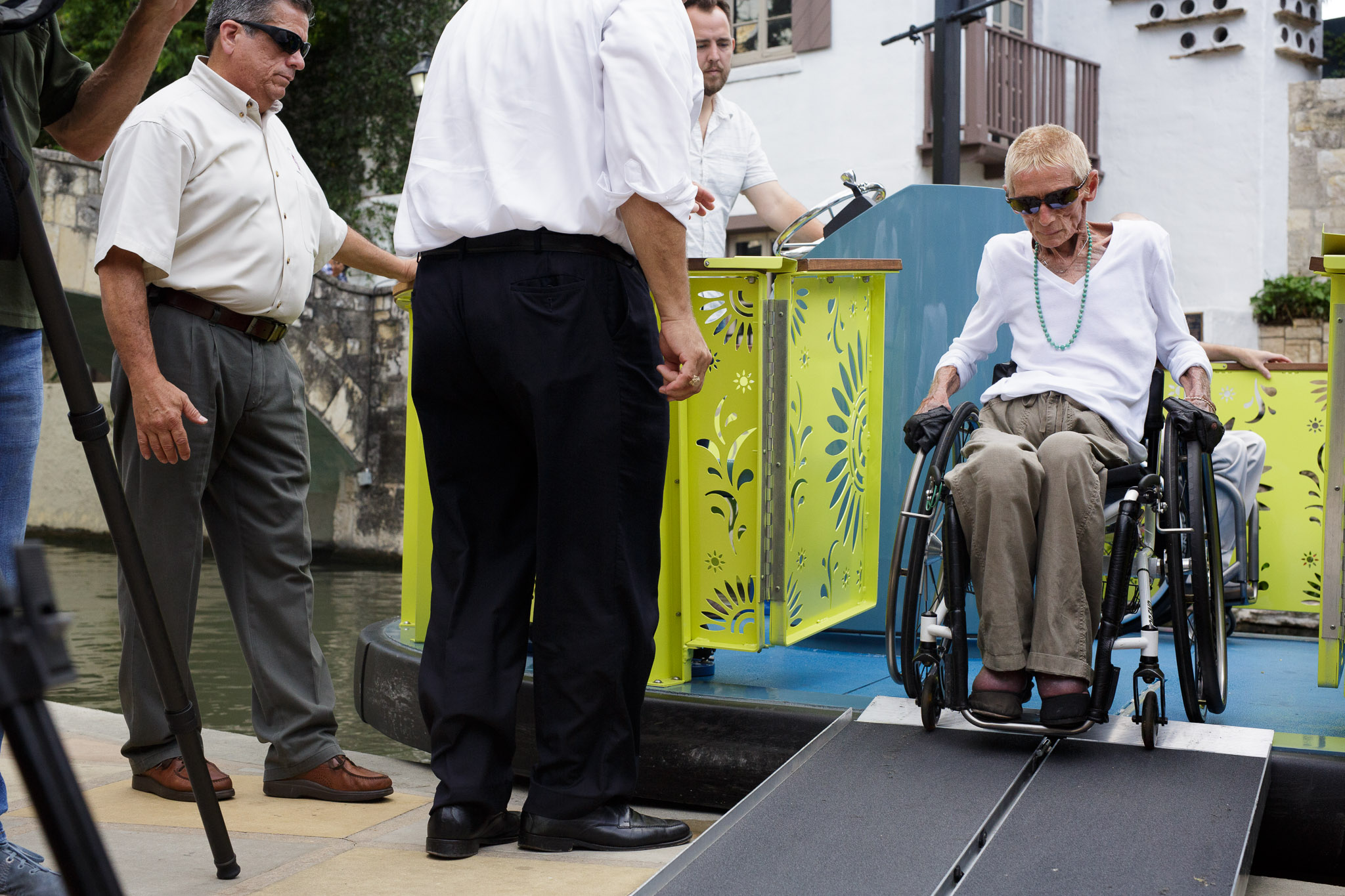 """Judy Babbitt was one of the first people to ride the City's new river barge in August 2016, which go beyond ADA """"compliance"""" and allows people with disabilities to easy board, unload, and move about the barge."""