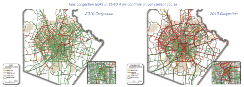 An outline of congestion development in SA Tomorrow's Multimodal Transportation Plan. Graphic courtesy of SA Tomorrow.