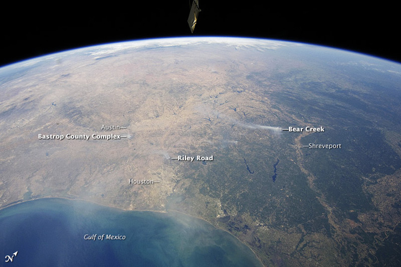 A panoramic view of East-Central Texas on Sept. 6, 2011, highlights numerous smoke plumes caused by wildfires burning across the state. The image was taken by astronauts aboard the International Space Station (ISS). Photo courtesy of NASA.