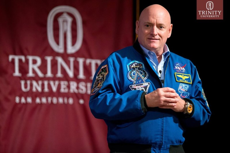 NASA Astronaut Scott Kelly shared his story with the Trinity community about his year in space. Photo courtesy of Trinity University.