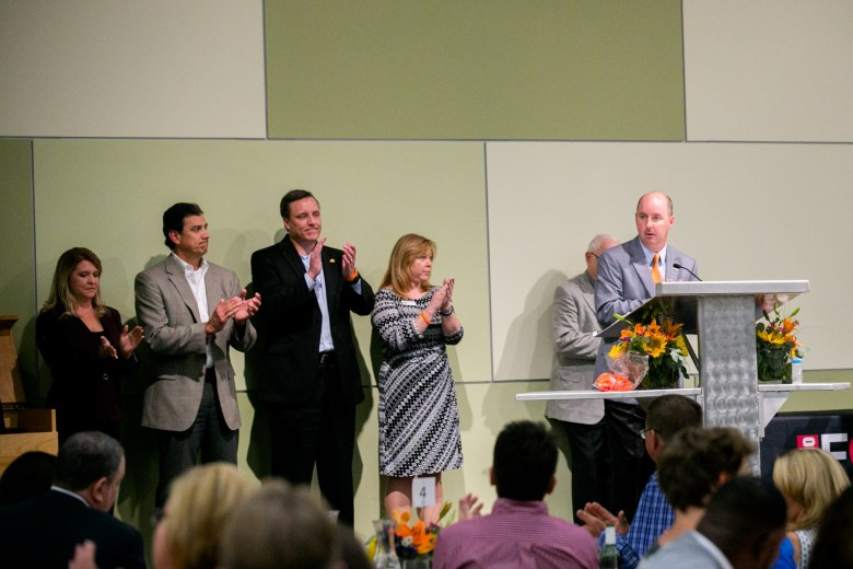The new 2017 San Antonio Food Bank board members applaud the SA Food Bank's accomplishments at the 2016 State of the Food Bank. Photo by Kathryn Boyd-Batstone.