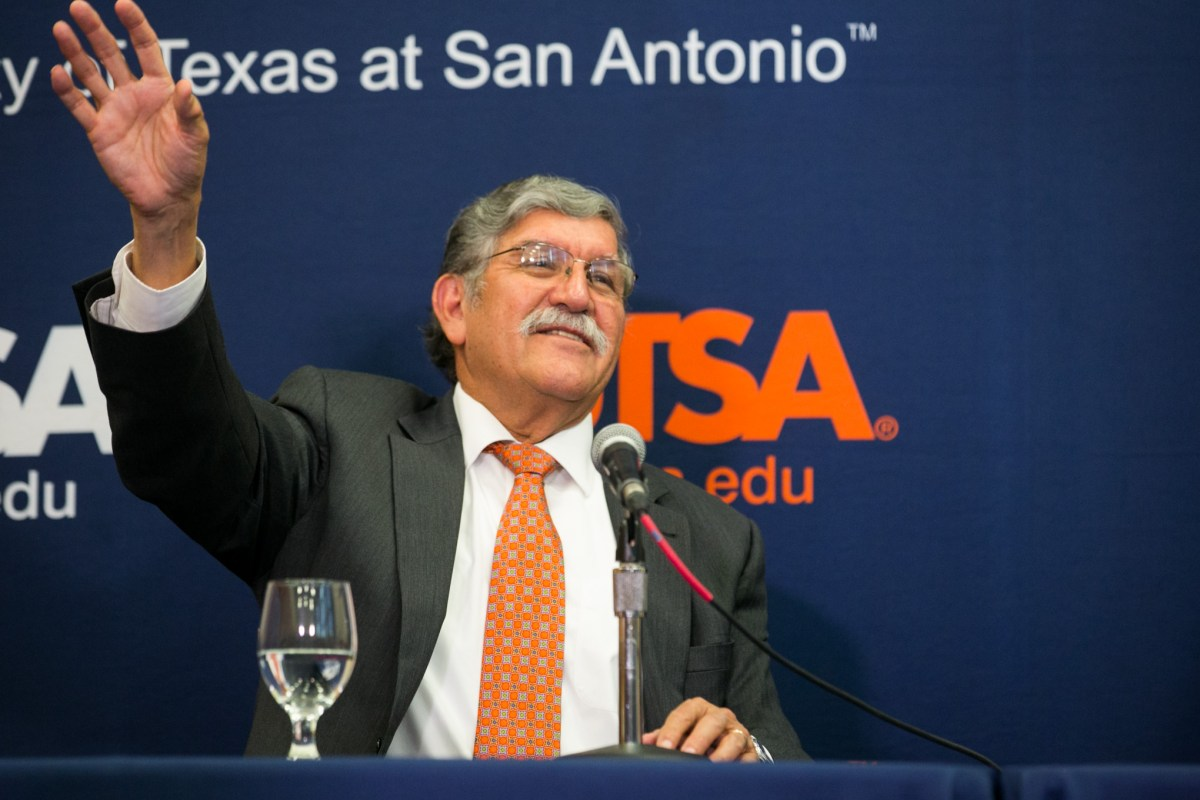 UTSA President Ricardo Romo announces his retirement following 18 years of service . Photo by Kathryn Boyd-Batstone.