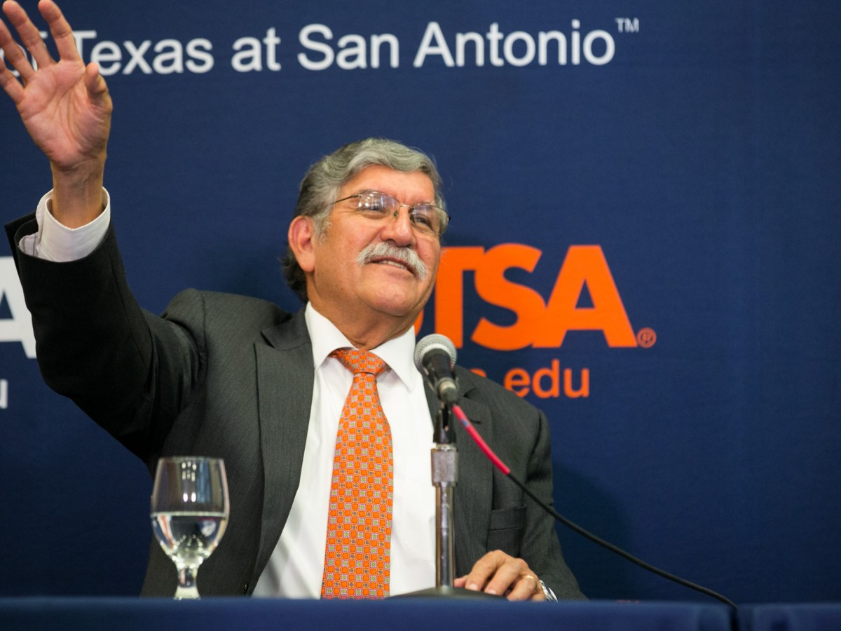 UTSA President Ricardo Romo announces his retirement following 18 years of service . Photo by Kathryn Boyd-Batstone.