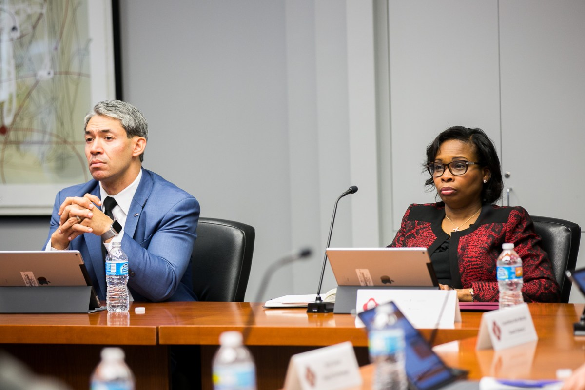 Councilman Ron Nirenberg (D8) and Mayor Ivy Taylor listen to an SA Tomorrow presentation by Planning Director of the City Planning and Community Development Bridgett White. Photo by Kathryn Boyd-Batstone.