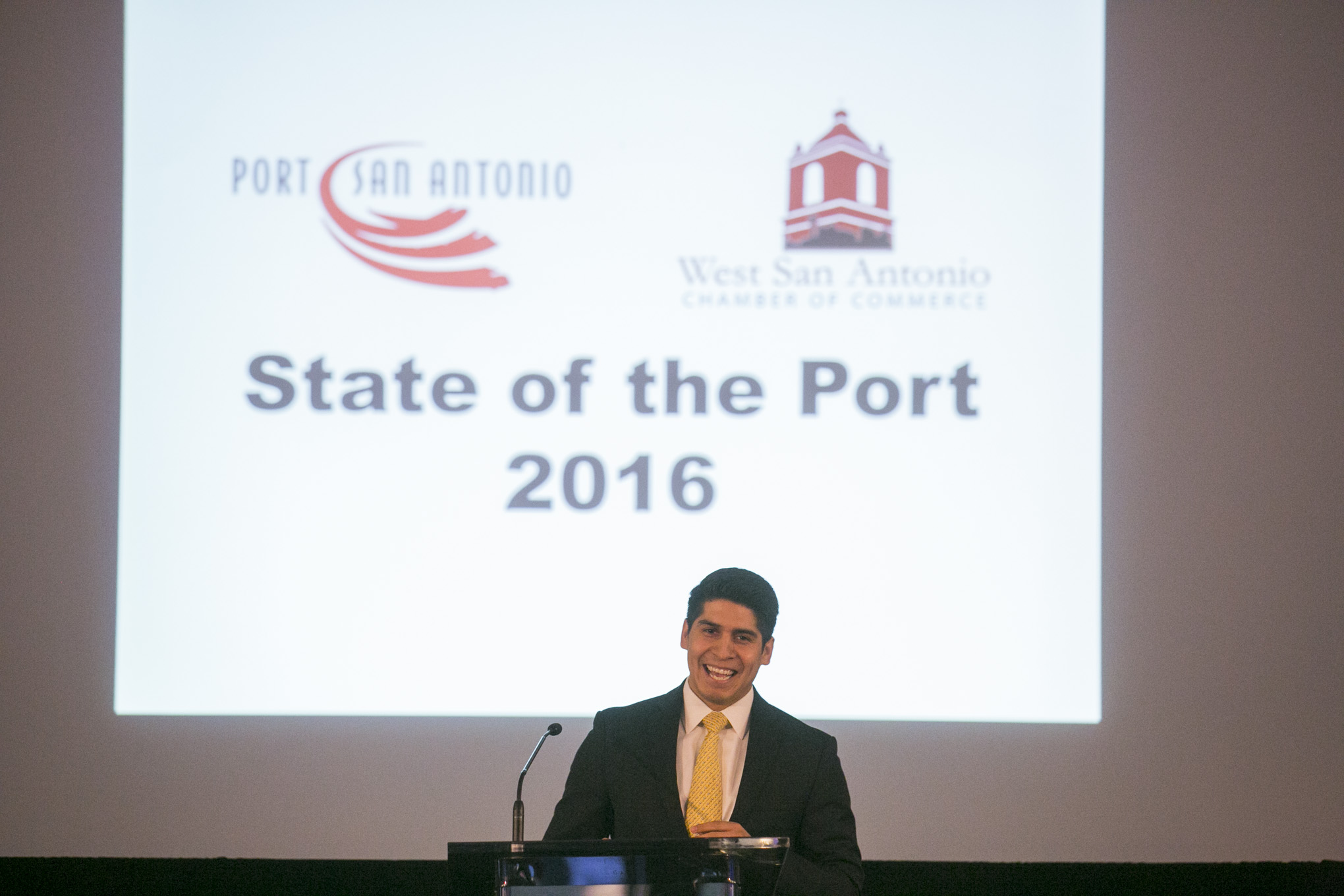 Councilman Rey Saldana introduces Port San Antonio CEO Rowland Mower. Photo by Kathryn Batstone-Boyd.