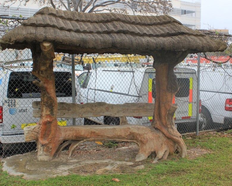 Faux bois palapa bench by sculptor Dionicio Rodriguez, circa 1923. The bench has since been relocated to a new site on the property. Photo by Elise Urrutia.