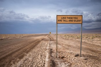 Poem 12, Line 11 from the series Road Verse 2016, Atacama Desert, Chile. Photo by Scott Martin.