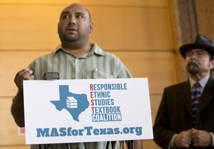 Dr. Christopher Carmona, chair of the National Association of Chicana and Chicano Studies-Tejas Foco's Committee on Pre K-12 Edu. in Texas Schools speaks during a press conference on July 18, 2016. Photo by Marjorie Kamys Cotera for the Texas Tribune.