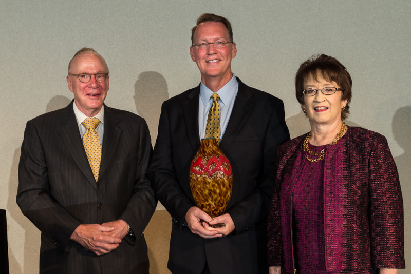 From left: Kenneth P. Trevett with Dr. Peoples and BioMedSA Founding President Ann Stevens. Photo by Joel Spring.