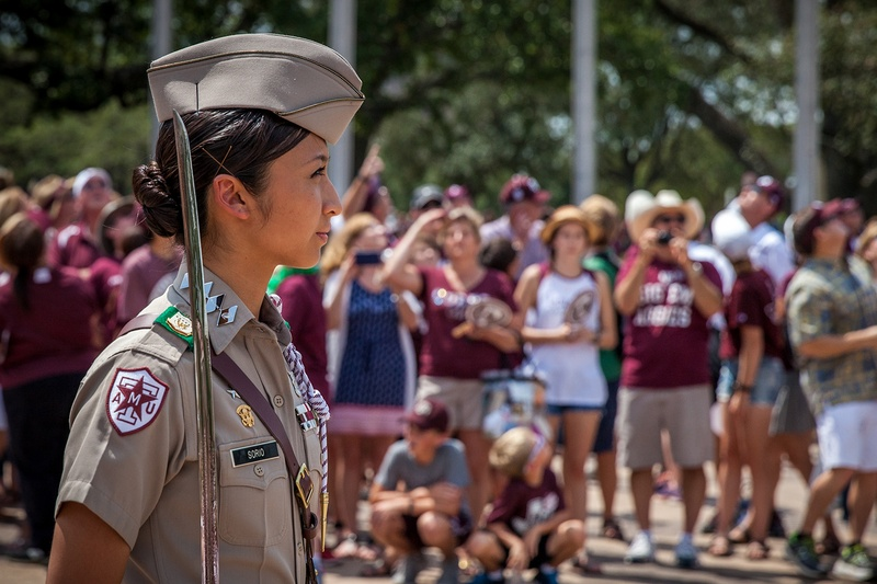 The Texas A&M Corps of Cadets participates in game day activities prior to the Sept. 3 football game against UCLA. Photo courtesy of Texas A&M Corps of Cadets/
