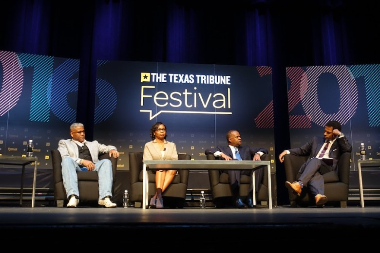 Mayor Ivy Taylor participating in a Texas Tribune Festival panel on race relations Saturday in Austin. Photo by Robert Rivard.